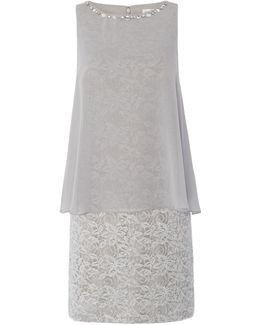 Metallic Lace Dress With Chiffon Pop Over
