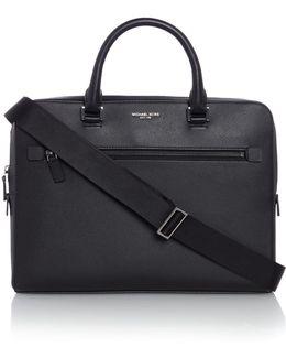 Harrison Zip Top Saffiano Leather Briefcase