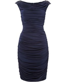 Rouched Dress With Beaded Shoulder