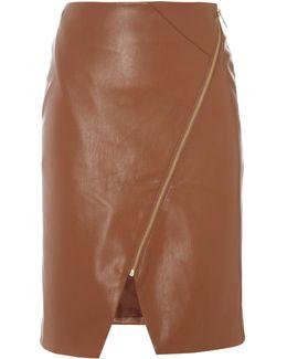 Pu Assymetric Zip Detail Skirt