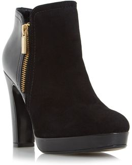Oscar Leather And Suede Heeled Ankle Boots