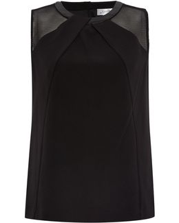 Black Sleeveless Top With Pleather Collar And Mes