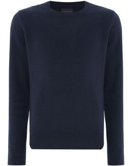 Knitted Crew-neck Cotton-blend Jumper