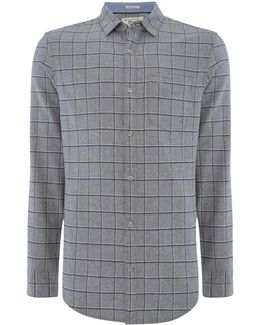 Brushed-flannel Windowpane-check Shirt