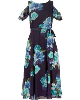 Printed Floral Midi Dress With Cold Shoulder