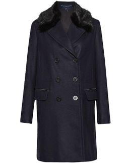 Platform Felt Faux Fur Collar Coat