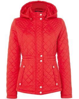 Hooded Quilted Jacket With Inner Drawcord
