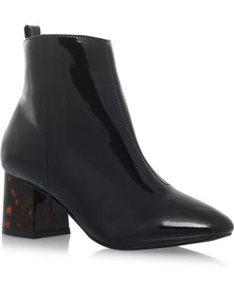 Stone High Heel Ankle Boots