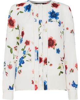 Floral Blouse With Piping