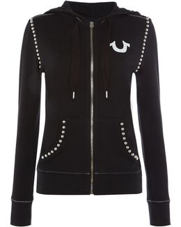 Embellished Hoodie Jersey Top In Washed Black