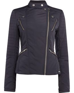 Oliani Padded Motorbike Style Jacket In Black