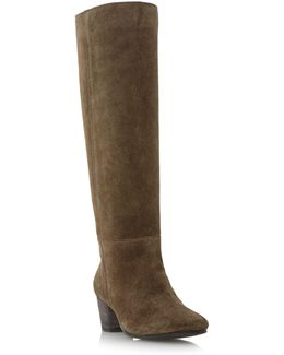 Tarry Unlined Pull On Knee High Boots