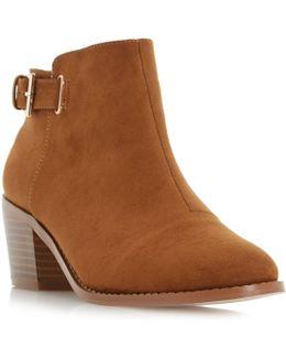 Priyanka Buckle Block Heel Ankle Boots