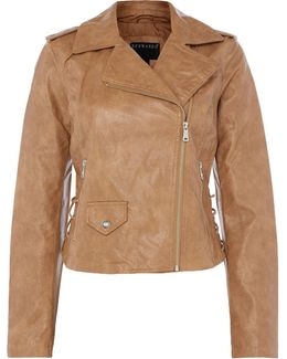 Motor Jacket With Lace Up Panel