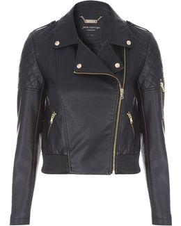 Black Pu Bomber Jacket