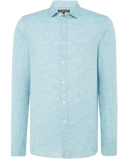 Slim Fit Yarn Dyed Linen Look Shirt