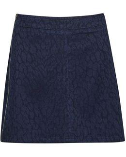 Animal Jacquard Denim Mini Skirt