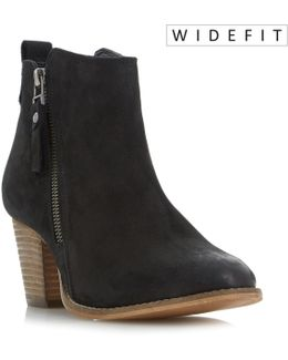 W Pontoon Stacked Heel Ankle Boots