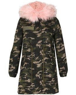 Camouflage Fur Trim Parka