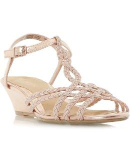 Kitti Plait Twist Mini Wedge Sandals