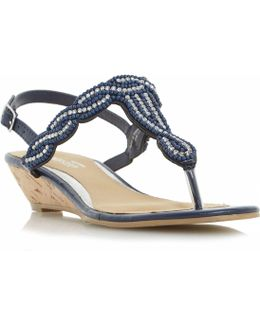 Naavi Beaded Plait Strap Sandals