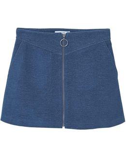 Zipped Cotton Skirt