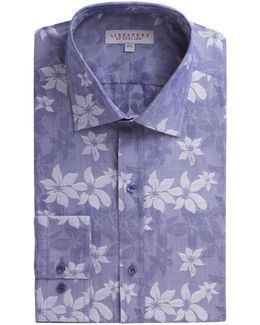Navy Floral Jacquard Shirt