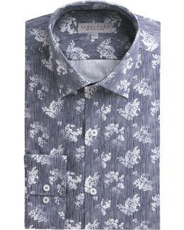 Navy Floral Stripe Shirt