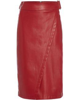 Wrap Front Pu Skirt