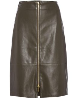 Zip Front Pu Skirt