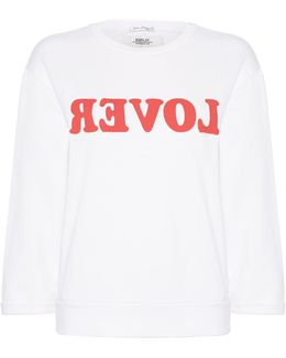 Printed Sweatshirt With Fringed Back