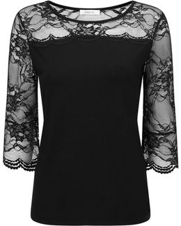 Petite Lace Flute Sleeve Top
