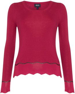 Knitted Crew Neck Lurex Jumper In Fuxia