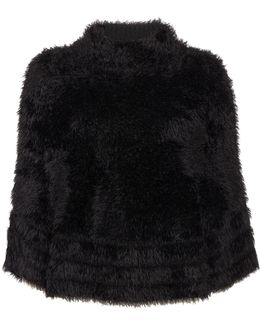 Knitted Faux Fur Cape In Nero