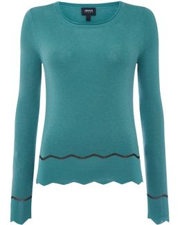 Crew Neck Knitted Jumper In Turchese