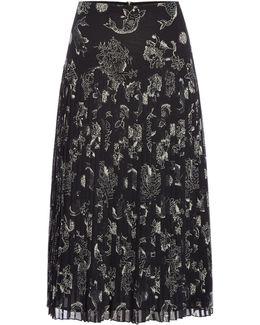Printed Drop Waist Pleated Skirt