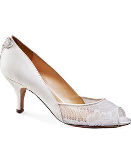 Caity Mid Heel Peep Toe Shoes