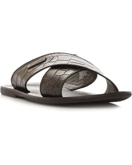 Idolise Croc Print Cross Over Sandals