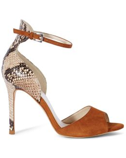 Suede And Snake Print Sandal - Tan