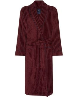 Stripe Textured Towelling Dressing Gown