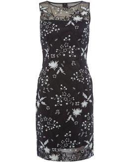 Ilussion Sequin Embroidered Shift Dress