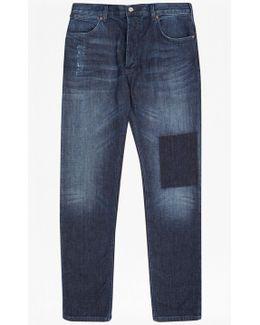 Snakeboard Stretch Slim Patchwork Jeans