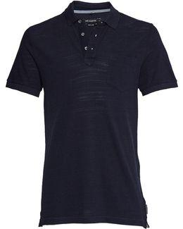 Men's Long Jeans Slub Polo Shirt