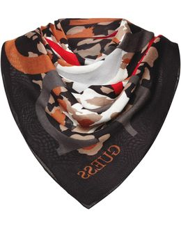 All Over Logo Striped Scarf