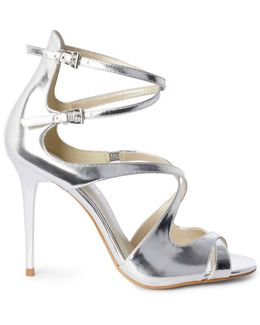 Metallic Strappy Stilettos - Silver