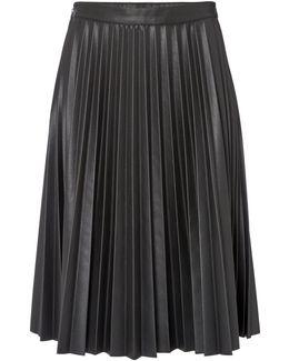 Pleated Pu Midi Skirt