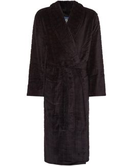 Textured Grid Check Dressing Gown