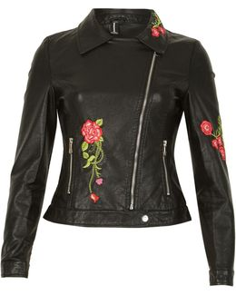 Floral Embroidered Leather Look Jacket