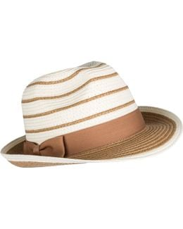 Womens Block Colour Paperstraw Trilby