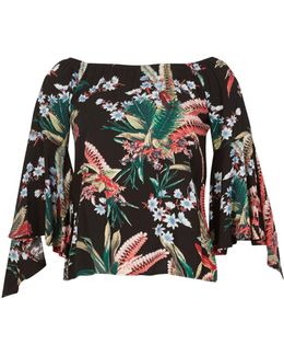 Tropical Floral Print Frill Sleeve Top